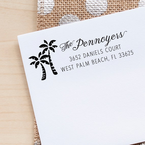 Beach Address Stamp, wedding return address stamp, return address stamp, Palm Tree Stamp Personalized Address Stamp eco friendly rubberstamp