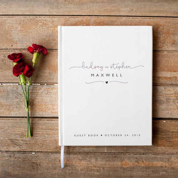 Wedding Photo book with classic black and white design, Wedding Guest Book
