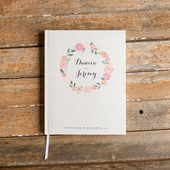 Blush Wedding Guest Book floral custom guestbook personalized wedding book sign in book rustic Guestbook blush pink wedding gift baby book