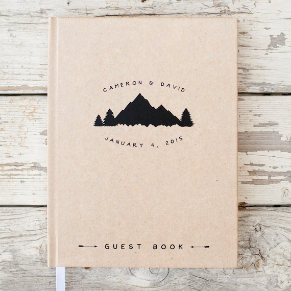 Mountain Wedding Guest Book Wedding Guestbook Custom Guest Book Personalized wedding book wedding sign in book rustic guestbook wedding gift