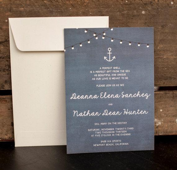 Wedding Invitation, Rustic Wedding Invitation, Nautical Wedding Invitation, Blue Wedding Invitation, anchor wedding invitation - The Deanna