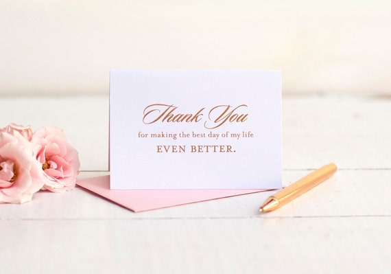 Wedding Thank You Card with rose gold foil, wedding note cards foil printed thank you bridesmaid box wedding stationery gifts bride groom