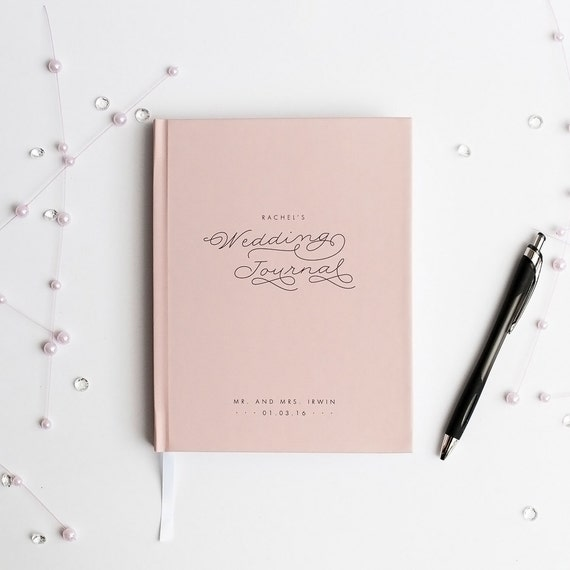 Wedding Journal Notebook Wedding Planner Personalized custom wedding book bridal shower guest book rustic wedding keepsake bride blush pink
