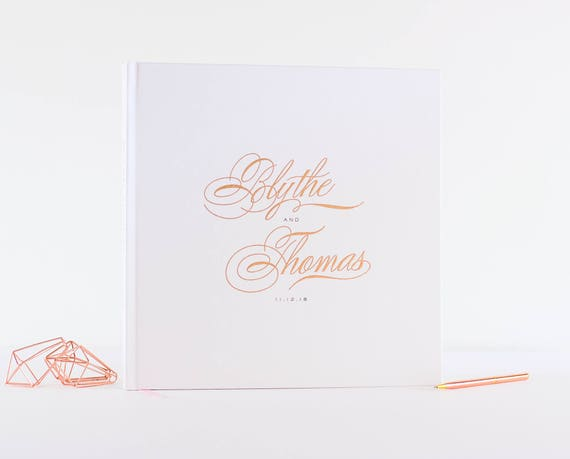 Wedding Guest Book Rose Gold Foil wedding guestbook custom 12x12 book personalized instant photo wedding gift sign in hardcover calligraphy