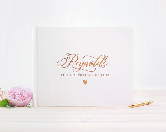 Heart Guest Book for Wedding, Rose Gold Wedding Guestbook with Personalized Names, Custom Guestbook for Wedding, Custom Colors Available