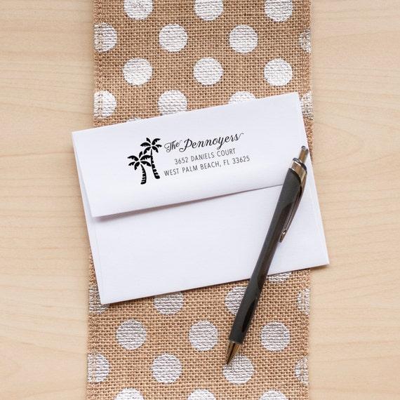 Beach Address Stamp, Custom Address Stamp, Address Rubber Stamp, Palm Tree Address Stamp, Return Address Stamp, Personalized Address Stamp