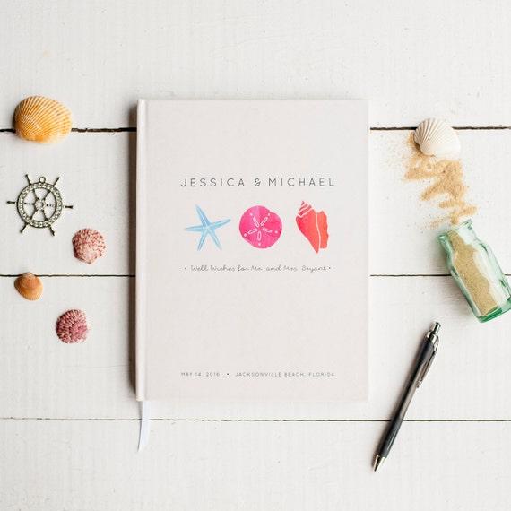 Wedding Guest Book Wedding Guestbook Custom Guest Book Personalized Customized destination wedding beach wedding seashell modern watercolor