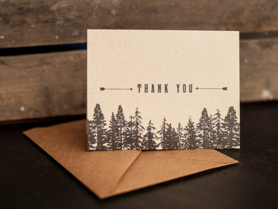 Thank You Cards, Trees, Forest, thank you notes, kraft paper, eco friendly