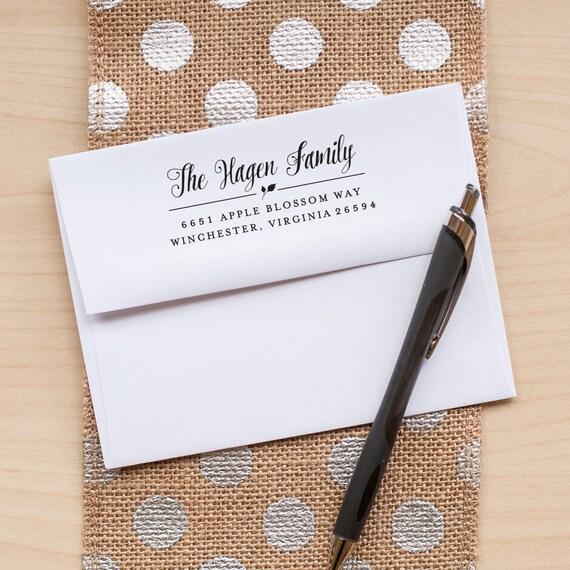 Custom Address Stamp, Return Address Stamp, Personalized Address Stamp, Calligraphy Address Stamp, Leaf Address Stamp, personalized gift
