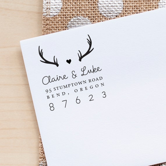 Antlers Address Stamp, Custom Address Stamp, Return Address stamp,  Personalized stamp, Wedding Invitation stamp, personalized gift, eco