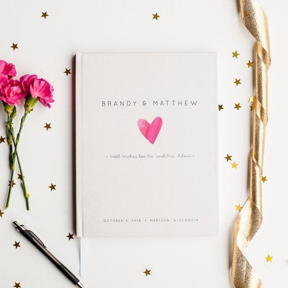 Wedding Guest Book Wedding Guestbook Custom Guest Book Personalized Customized custom design wedding gift keepsake watercolor pink heart new