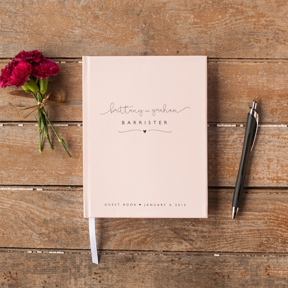 Blush Pink Wedding Guest Book personalized guestbook modern wedding keepsake sign in registry wedding book wedding book photo booth book
