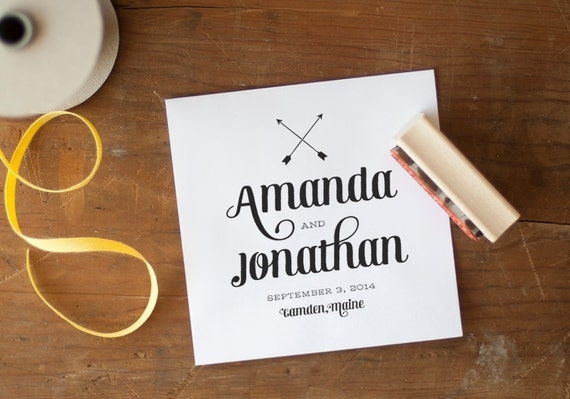 Save the Date stamp Wedding favor stamp custom stamp save the date wedding wedding stationery arrows monogram stamp rustic wedding stamp