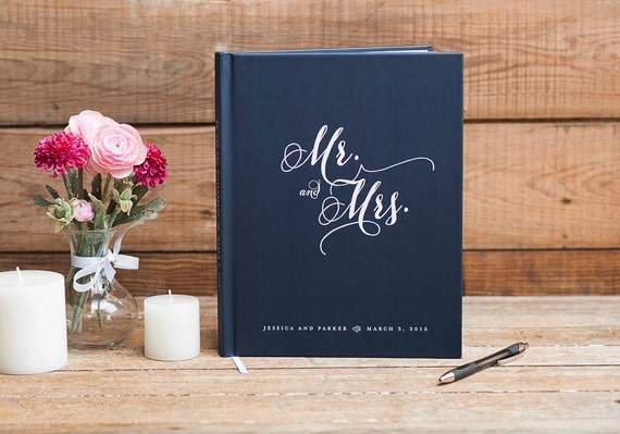 Mr. and Mrs. Wedding Guest Book Wedding Guestbook custom navy guest book wedding sign in book rustic wedding personalized photo booth book