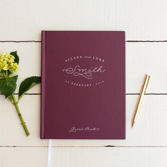 Rustic Wedding Guest Book Wedding Guestbook Custom Guest Book Personalized classic wedding gift keepsake burgundy wedding signing book