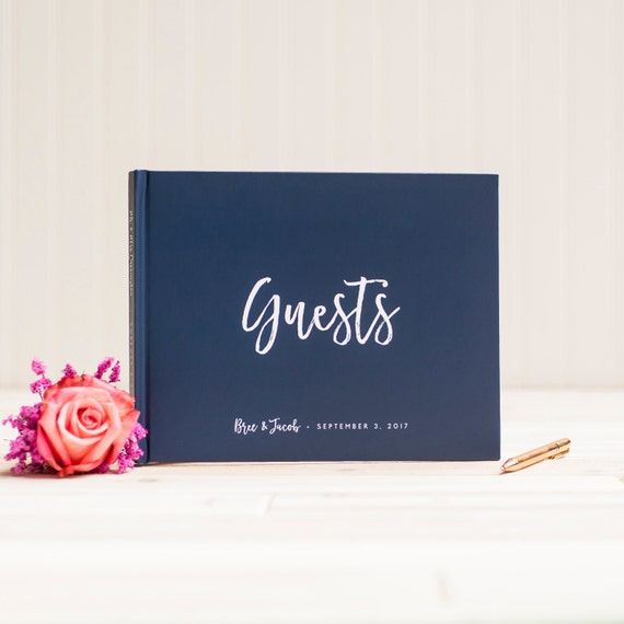 Wedding Guest Book landscape horizontal navy wedding guestbook personalized hardcover book planner lined pages nautical instant photo booth