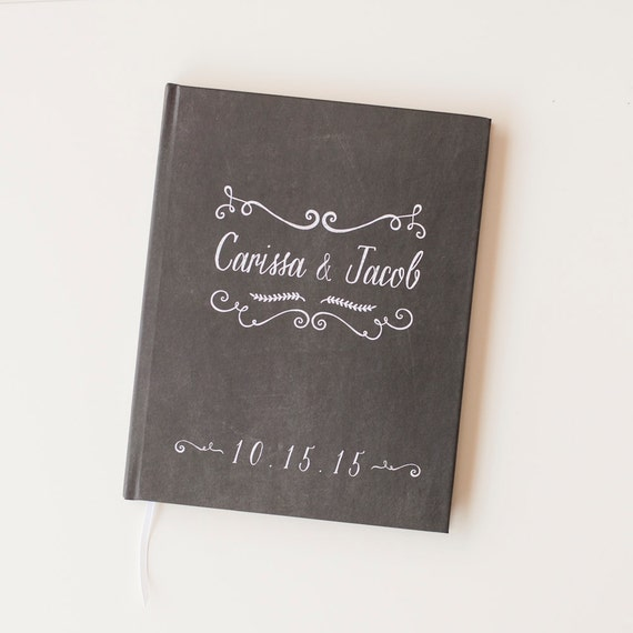Chalkboard Wedding Guest Book wedding guestbook personalized chalk board wedding book engagement gift bridal shower sign in book rustic