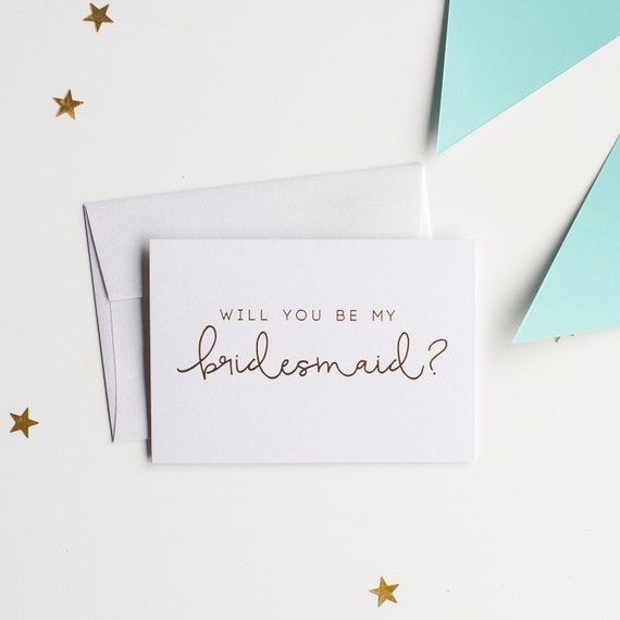 Gold Foil Will You Be My Bridesmaid card - bridal party card, foil stamped notecard, wedding party card, bridal party, bridesmaid gift, maid