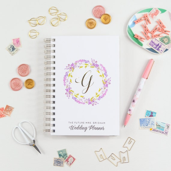 Wedding Planner Floral Purple Wedding Planner Engagement Gift Bridal Shower Planning Book Future Mrs. Planner Custom Planner Personalized