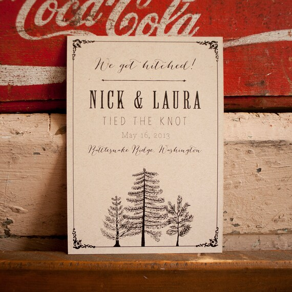 Tree Wedding Announcement, Rustic Wedding Announcement -The Larch, Eco trees rustic kraft elopement announcements, kraft wedding invitations