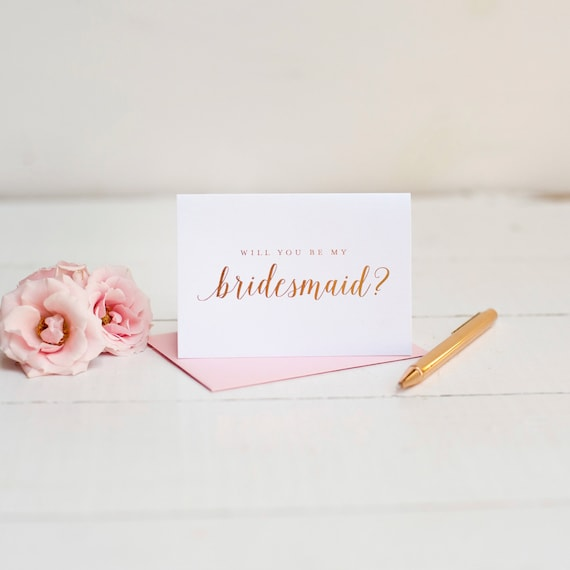 Will You Be My Bridesmaid Card Rose Gold Foil bridesmaid proposal gift box wedding party card bridesmaid invitation foil stamped blush pink