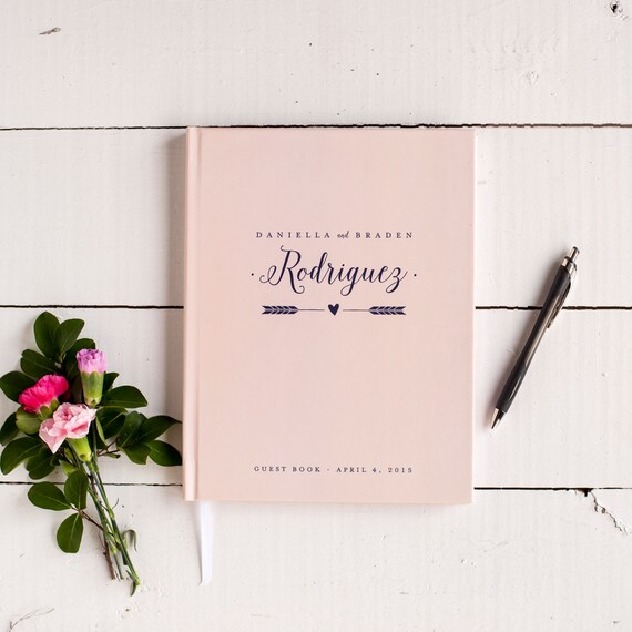 Blush and Navy Wedding Guest Book Wedding Guestbook Custom Guest Book Personalized Customized rustic wedding keepsake wedding gift pink blue