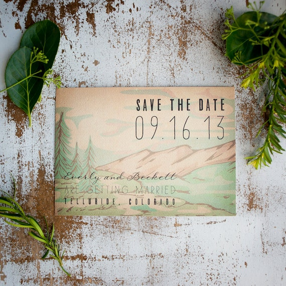 Mountain Save the Date, Save the Date card  - The Everly - rustic save the date postcard, Mountains, Trees, Forest, Rustic Wedding, eco