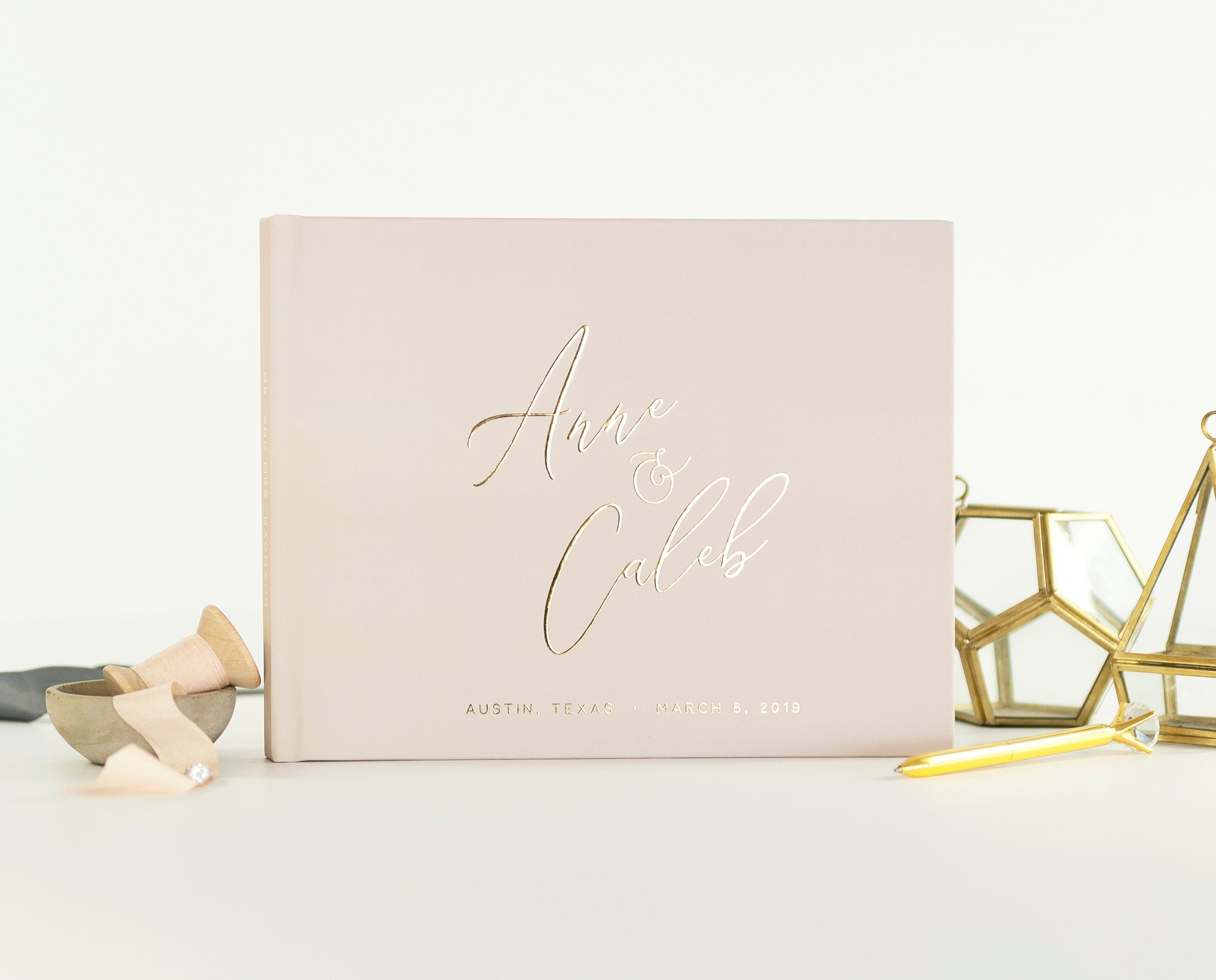 Wedding Guest Book Taupe wedding guestbook Gold Foil wedding