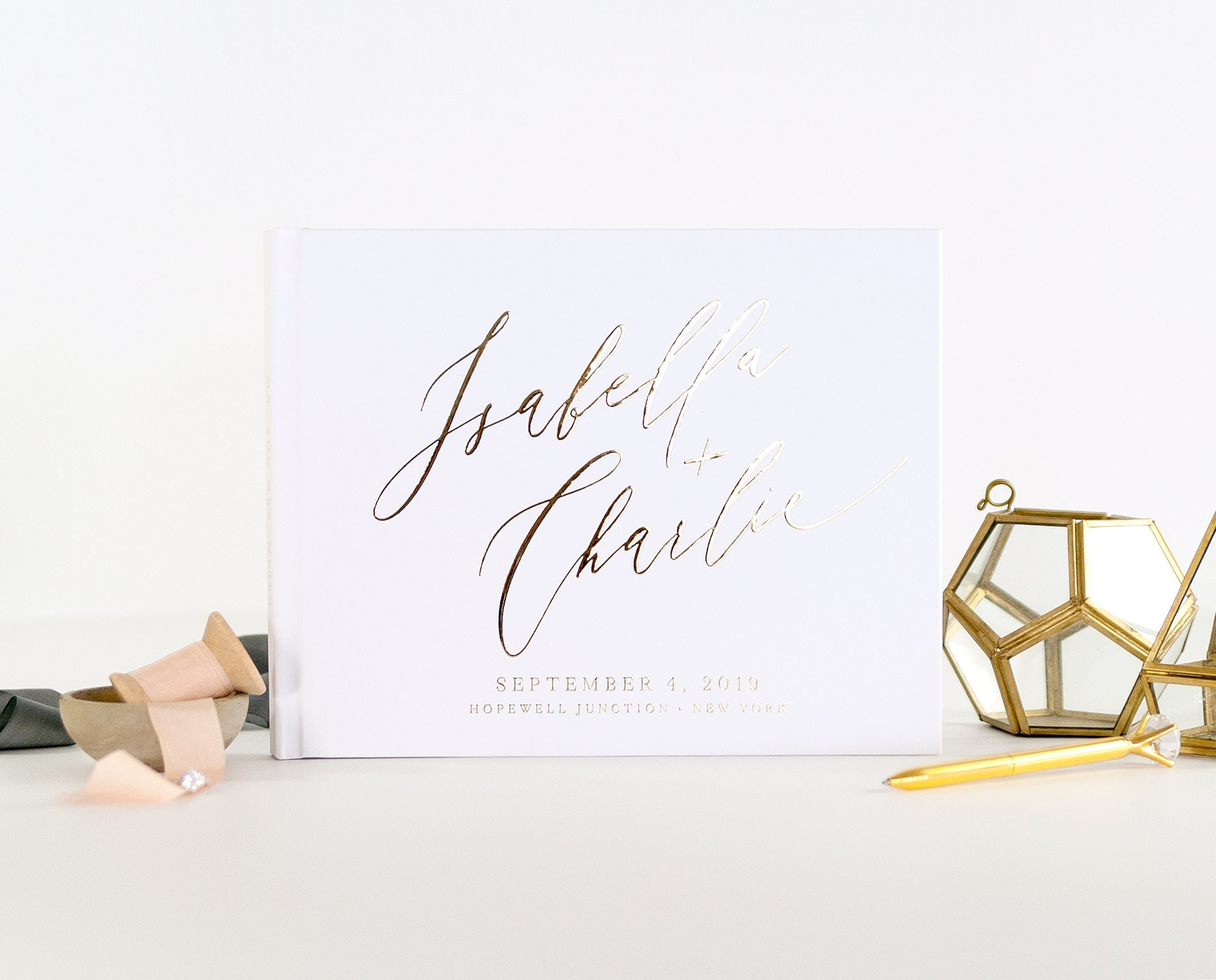 Personalized Wedding Guest Book.Wedding Guest Book Wedding Guestbook Gold Foil Custom Guest Book