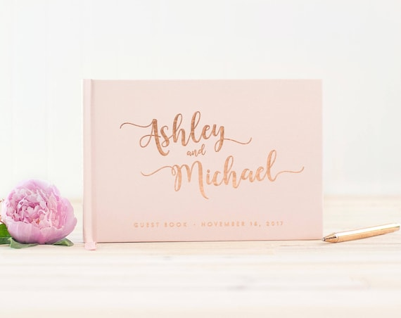 Wedding Guest Book landscape guestbook horizontal wedding book Rose Gold Foil hardcover wedding guest book Personalized instant photo book