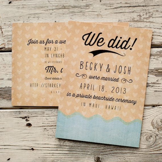 Beach Wedding Announcement, Wedding Announcements  - The Wave - postcard, Eloped, elopement announcement, Ocean, Destination Wedding