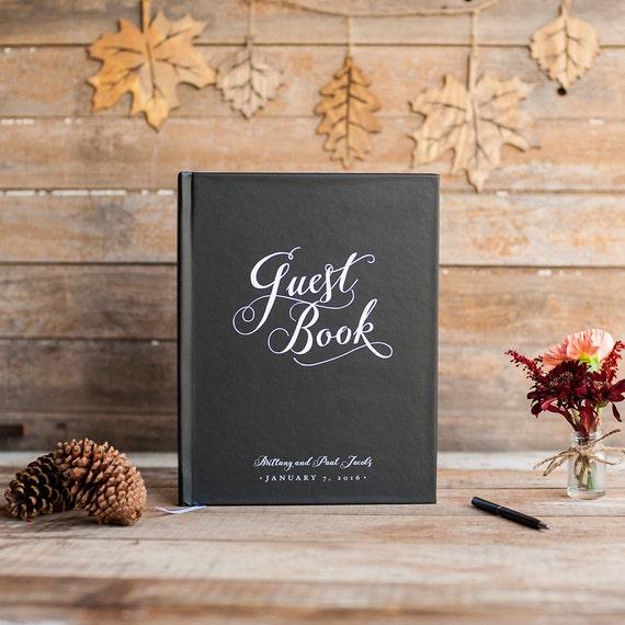 Wedding Guest Book Wedding Guestbook Custom Guest Book Personalized Customized rustic wedding keepsake wedding gift elegant black tie formal