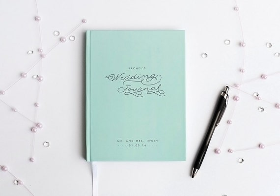 Wedding Planner Book Wedding Journal Personalized custom wedding book bridal shower guest book rustic wedding keepsake bride notebook blue