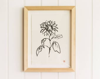 Sunflower PRINT | Botanical Art print | Botanical wall art