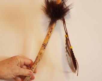 Nature words wand native spiritual shaman magic talking stick personal Journey stick wand silence bird s