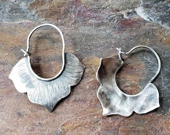 Lotus Earrings, Lotus Flower, Silver Stamped Earrings, Silver Boho Earrings, Hoop Earrings, Stamped Boho Earrings, Textured Earrings