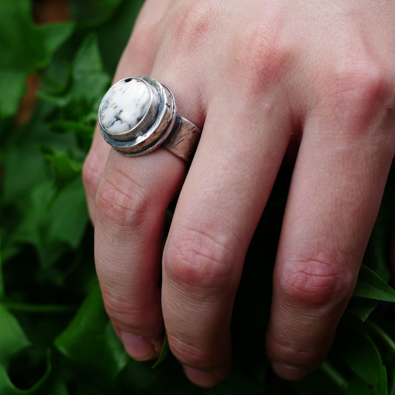 High Dome Ring Men/'s Pinky Ring Rustic Ring Black and White Ring Round Ring White Buffalo Ring White Buffalo Jewelry Size 6 Ring