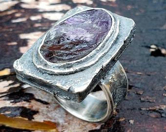 Amethyst Ring, Hollowform Ring, Purple Amethyst Ring, Men's Amethyst Ring, Purple Gemstone Ring, Purple Ring, February Ring, Size 11.5
