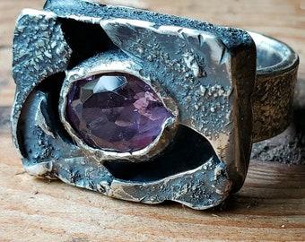 Amethyst Ring, Hollowform Ring, Purple Amethyst Ring, Men's Amethyst Ring, Purple Gemstone Ring, Purple Ring, February Ring, Size 11, Unisex