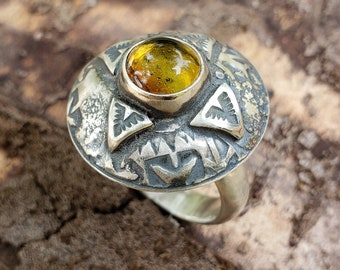 Compass Rose Ring, Amber Ring, Cocktail Ring, Women's Amber Ring, Men's Amber Ring, Statement Ring, Compass Rose, Size 11, Non-Gender Ring