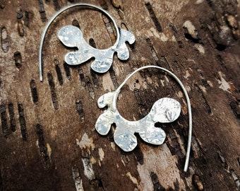 SideHoops, Hoop Earrings, Side Hoop Earrings, Organic Earrings, Abstract Earrings, Leaf Earrings, Matisse Earrings