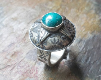 Compass Rose Ring, Spiderweb Turquoise Ring, Cocktail Ring, Turquoise Ring, Men's Turquoise Ring, Statement Ring, Compass Rose, Size 12