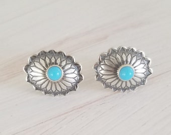 06d7c1cd1 Tiny Small Oxidized Sterling Silver 925 Navajo Native American Turquoise  Southwestern Oval Concho Stud Antique Handmade Earrings