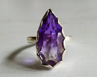 Vibrant Fun Sterling Silver 926 Purple Amethyst Crystal Quartz Large Elongated Pear Teardrop Solitaire Statement Ring Size 6.25