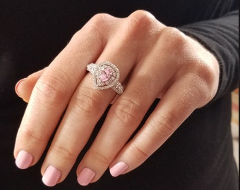 Sparkling Glamorous Sterling Silver 925 Pear Shaped Teardrop Pink & White CZ Double Halo Princess Promise Ring Size 8