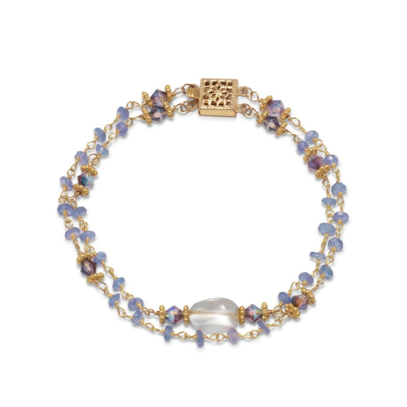 Gorgeous Gemstone 14K Yellow Gold Plated Sterling Silver 925 Double Strand Tanzanite /& Citrine Bead Delicate Ornate Clasp Beaded Bracelet