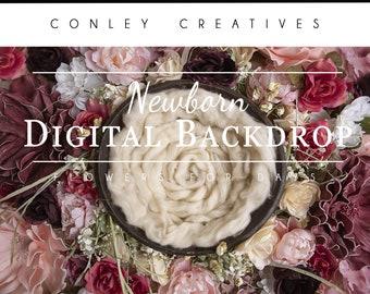 Newborn Digital Backdrop- Flowers for Days   Spring flowers   Springtime Digital Background  Newborn Spring Digital Background for composite