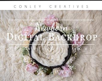 Newborn Digital Backdrop- Spring Floral Bowl   Spring flowers on Flokati Rug   Springtime Digital Background