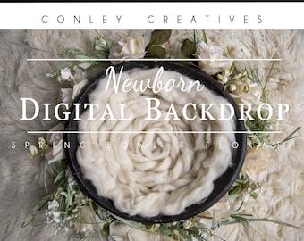 Newborn Digital Backdrop- Spring Bowl with Cream Flokati   Spring flowers on Flokati Rug   Springtime Digital Background