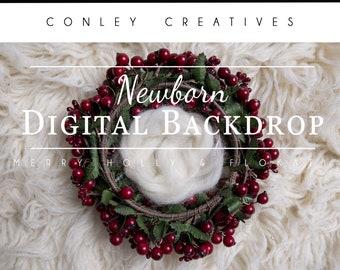 Newborn Digital Backdrop-Merry Holly and Flokati   Christmas Digital Background  Newborn winter Digital Background for composite